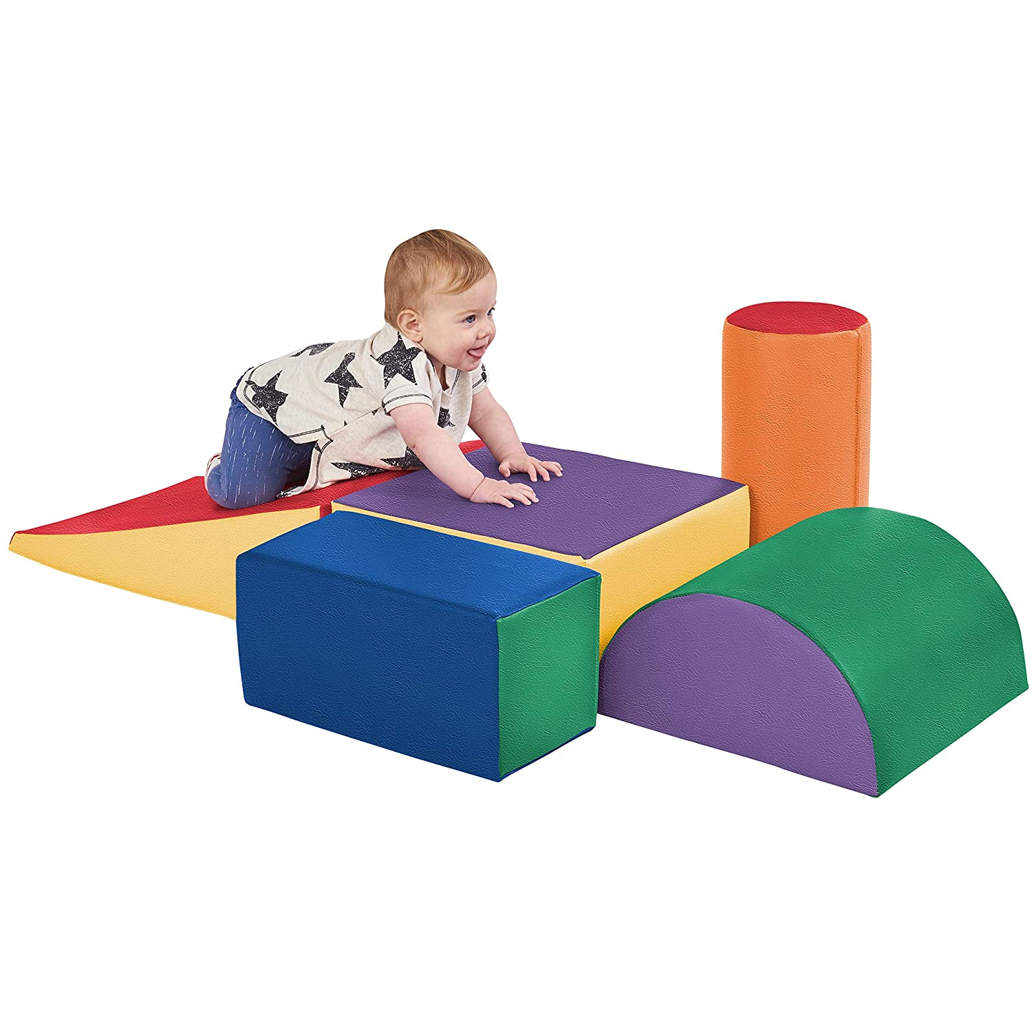 A baby playing with ECR4 Kids Softzone Climb and Crawl Play set.