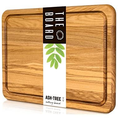 Cutting Board - Wood Cutting Board - More Reliable than Bamboo Cutting Board and More Organic than Plastic Cutting Board - Premium Oak Cutting Board - Perfect Cook's Gift butcher block - Curving