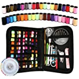 Sewing Kit, 128Pcs Okom Zipper Portable Mini Sewing Kit, Premium Sewing Supplies Suitable for Traval, Home, Beginner, Emergen