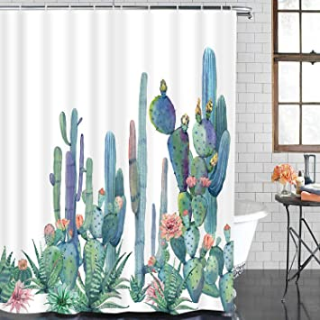 Cactus Flower Blossom Fabric Shower Curtain Cacti Succulent Bath Mat Nonslip Rug