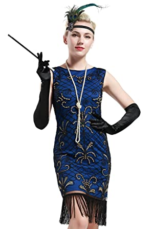BABEYOND Vintage 1920s Gatsby Beaded Embellished Fringed Flapper Dress Blue (Small, Blue and Gold