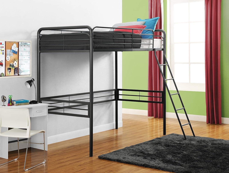 Amazon.com: DHP Simple Metal Loft Bed Frame, Multifunctional, Twin ...