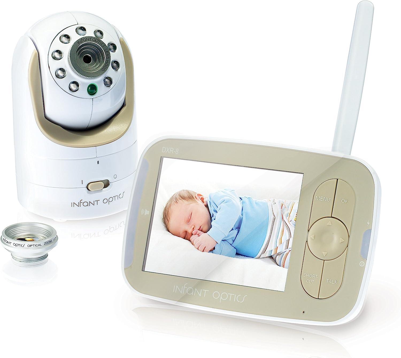 Moniteur vidéo pour bébé Infant Optics Dxr-8 avec lentille optique interchangeable, blanc/beige.
