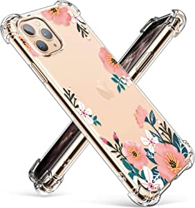 GVIEWIN Compatible with iPhone 11 Pro Case,Clear Flower Design Soft & Flexible TPU Ultra-Thin Shockproof Transparent Bumper Protective Cover,Case for iPhone 11 Pro 5.8 Inch 2019, Summer Blossom/Yellow