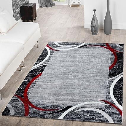 T&T Design Tappeto Moderno Economico Bordatura Semicerchio Mélange Tappeto  Per Soggiorno Grigio Rosso, Größe:160x220 cm