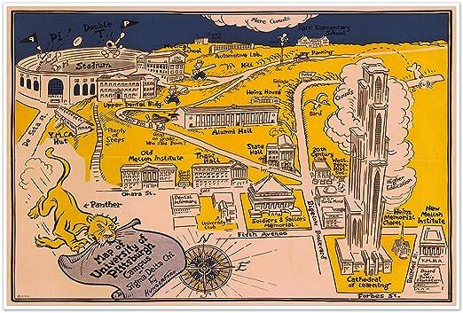 University Of Pittsburgh Campus Map Amazon.com: Antiguos Maps   University of Pittsburgh   Campus Map