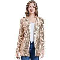 KANCY KOLE Women's Sequin Jacket Open Front Blazer Casual Long Sleeve Cardigan Coat S-XXL