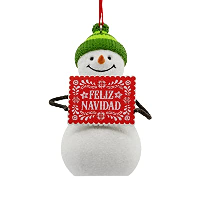 068cae8ed5b71 Image Unavailable. Image not available for. Color  Hallmark VIDA Christmas  Ornament Snowman Feliz Navidad Spanish