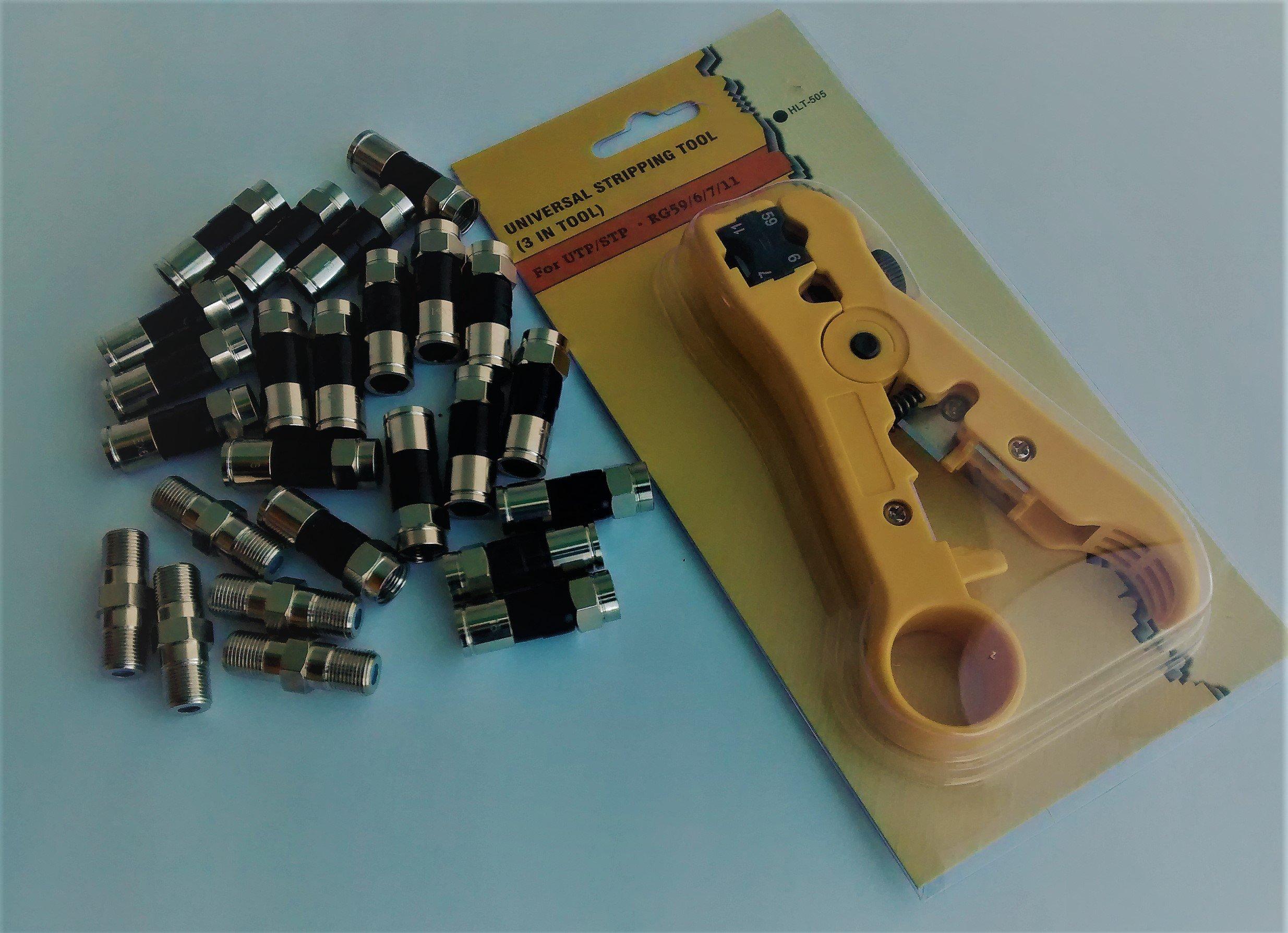 Coax Compression Connector Starter Kit - RG6 PPC EX6 XL (Belden/PPC) Quad Connectors, Universal Stripper/cutter Tool and PPC High Freq Barrel Connectors - Rg6/RG59 Series