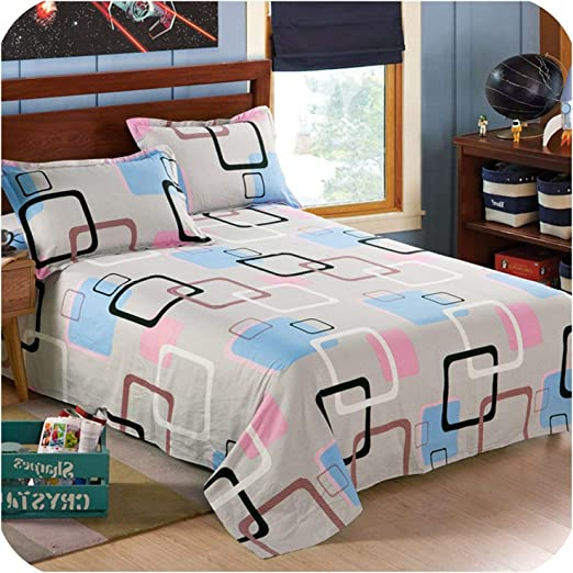 Amazon.com: Blue Plaid Printing Cotton Bed Sheets Kids/Adult Soft