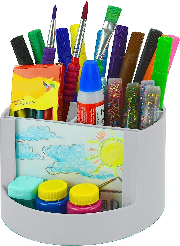 Office Supplies Storage and Home Organization White Color Pen Pencil Clip Holder Mix Organizer Caddy Photo Holder Acrimet Plastic Desktop Organizer