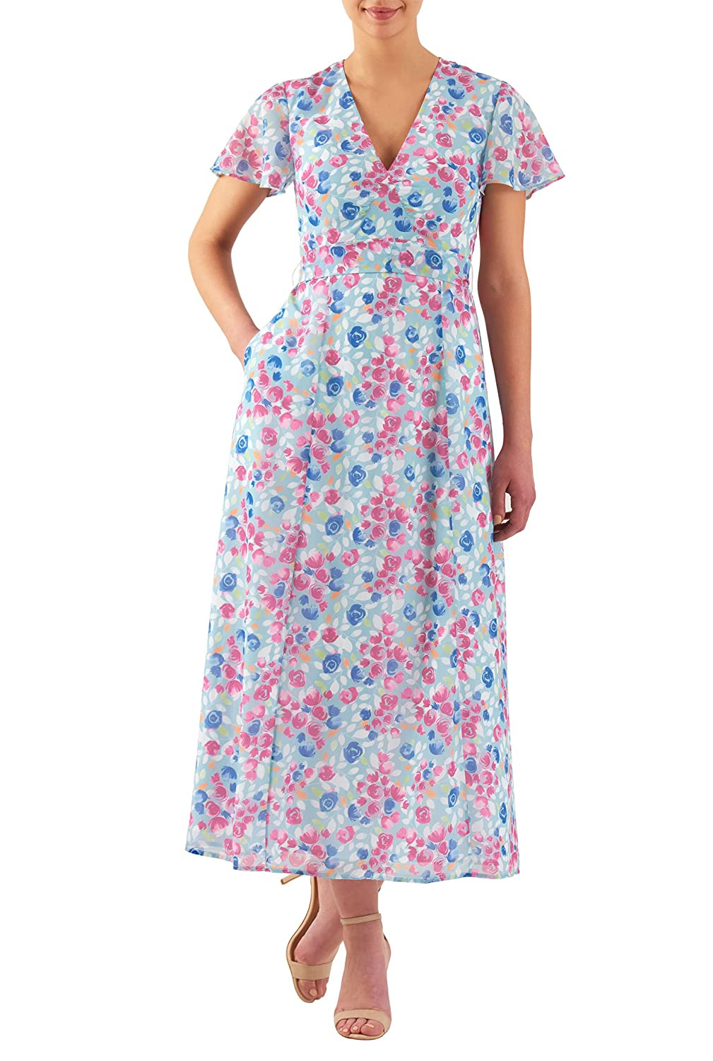 1930s Day Dresses, Afternoon Dresses History eShakti Womens Floral print georgette empire maxi dress $56.95 AT vintagedancer.com