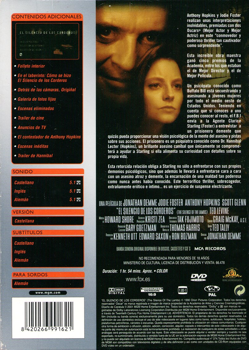 El Silencio De Los Corderos (2) [DVD]: Amazon.es: Jodie Foster, Anthony Hopkins, Scott Glenn, Ted Levine, Kasi Lemmons, Lawrence A Bonney, Lawrence T Wrentz, Anthony Heald, Jonathan Demme, Jodie Foster, Anthony Hopkins: