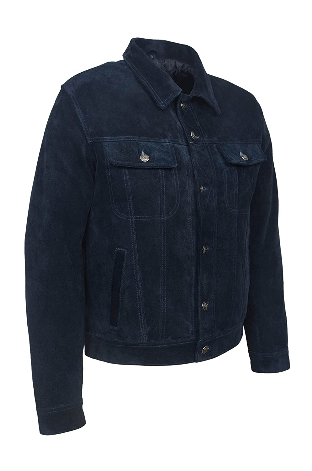 'TRUCKER' New Men's Navy Blue Suede Classic Real Cowhide Western Leather Jacket