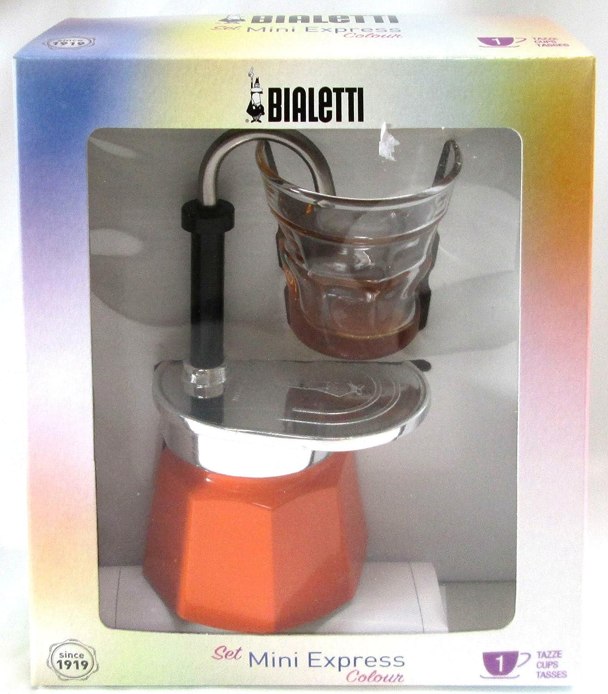 Bialetti: Set Mini Express Color 1 taza naranja + 1 bialetti transparente café vidrio con fondo naranja [importación italiana]: Amazon.es: Hogar