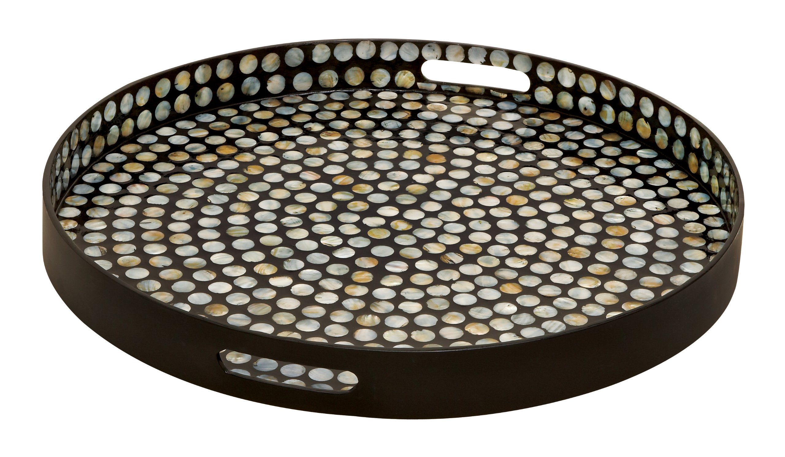 Deco 79 48931 Wood Lacquer Shell Tray, 24'' W x 3'' H