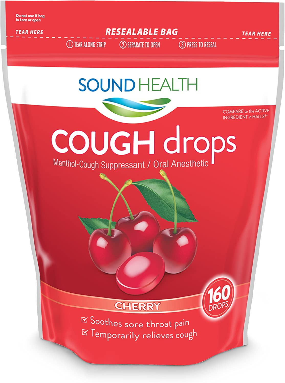 SoundHealth Sugar Free Honey Lemon Cough Drops, Throat Lozenge, Cough Suppressant