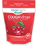 SoundHealth Cough Drops, Cough Suppressant Throat Lozenge, Cherry Flavor, 160 Count Bag