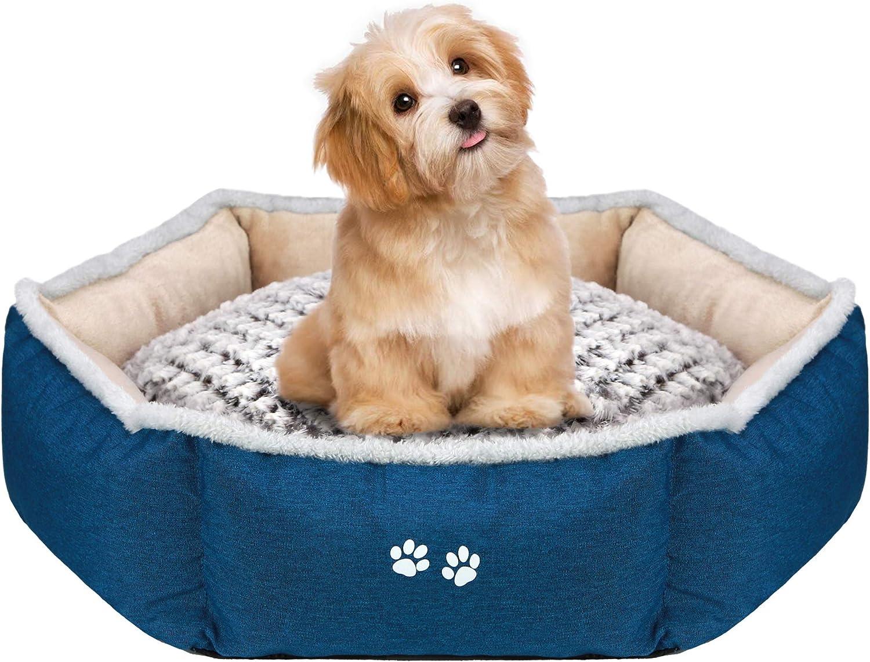 KROSER Cama para Perros Pequeños y Gatos Cama para Mascotas con Almohada Reversible (Cálido y Frío) Fondo Antideslizante y Impermeable Suave y Calmante Fundas Extraíbles y Lavables a Máquina