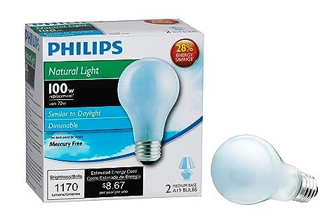 Philips 226993 72-Watt A19 Halogen Light Bulb, Natural Light ...:Philips 226993 72-Watt A19 Halogen Light Bulb, Natural Light, Dimmable, 2,Lighting