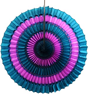 product image for 6-Pack 16 Inch Striped Honeycomb Tissue Paper Fan Decoration (Vintage Rose/Teal Green)