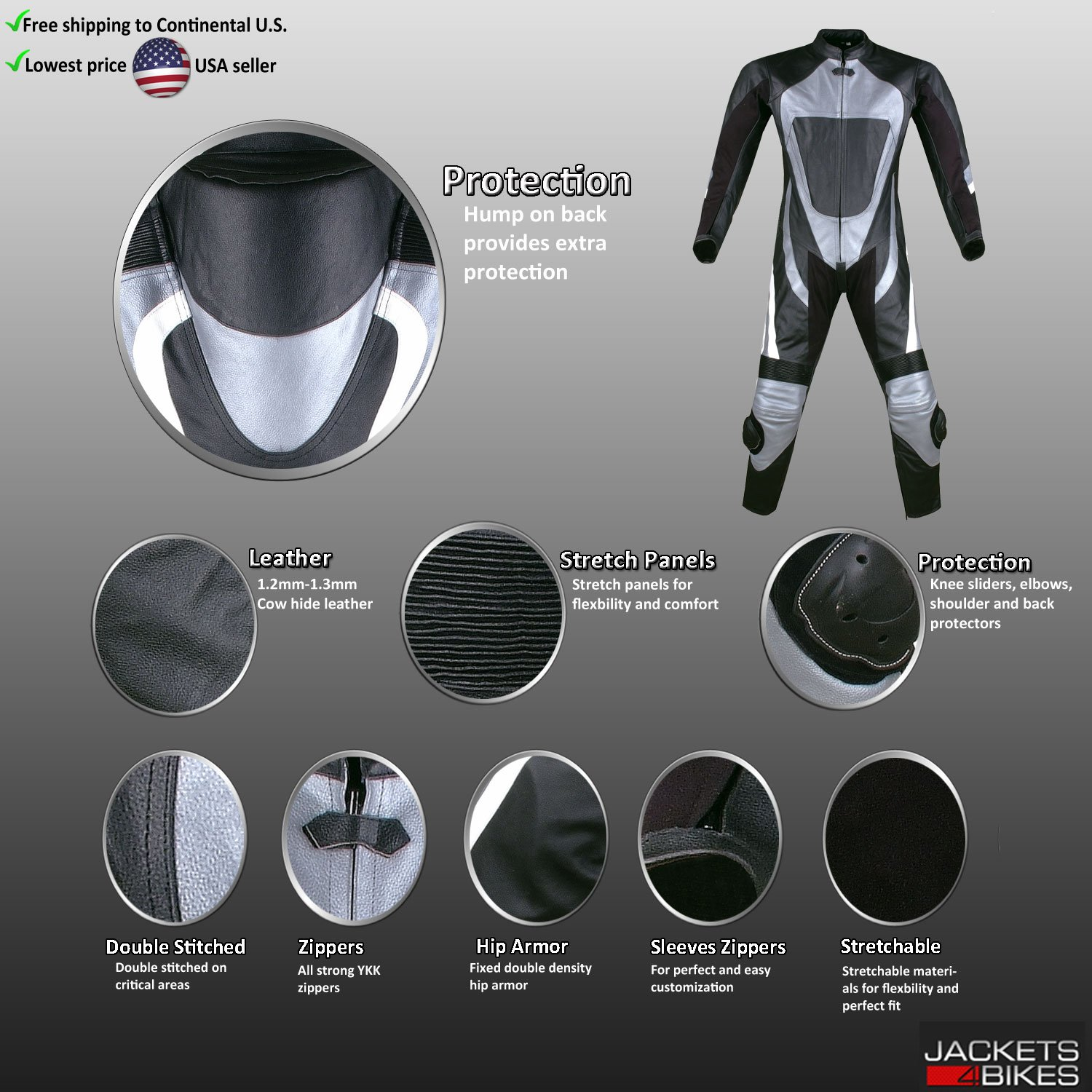 New 1PC One-Piece Armor Leather Motorcycle Racing Suit Silver w/Hump US Size 40 by Jackets 4 Bikes (Image #5)