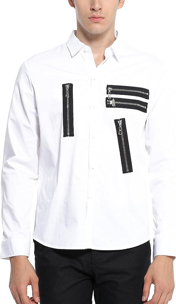 SSLR Camisa Slim Fit Hombre Casual de Parches con Cremalleras (Medium, Blanco): Amazon.es: Ropa y accesorios