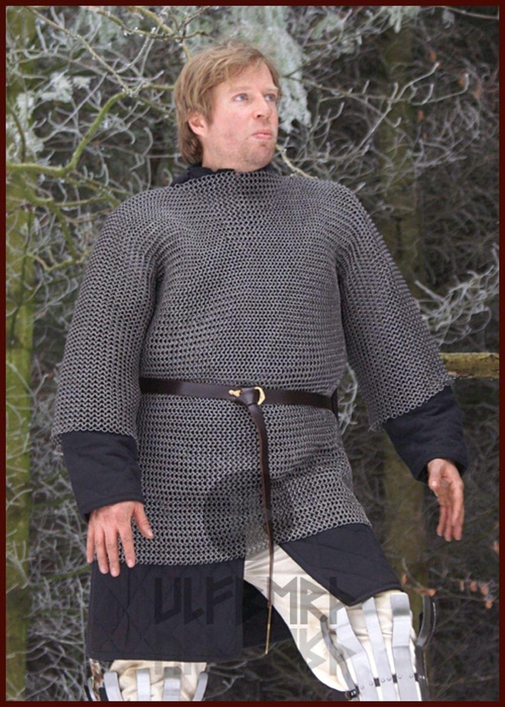 Mittelalter Kettenhemd Haubergeon, ID 8mm, Aluminium vernietet LARP Gr. XXL
