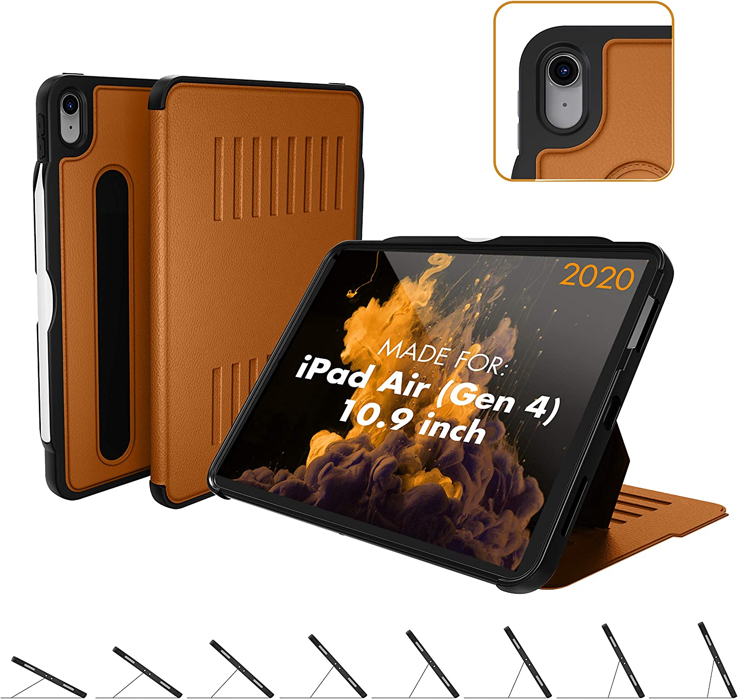 ZUGU CASE (New Model) The Alpha Case for 10.9 Inch iPad Air Gen 4 (2020 ONLY) - Protective, Ultra Thin, Magnetic Stand, Sleep/Wake Cover (Fits Model #s A2072, A2316, A2324, and A2325) - Brown