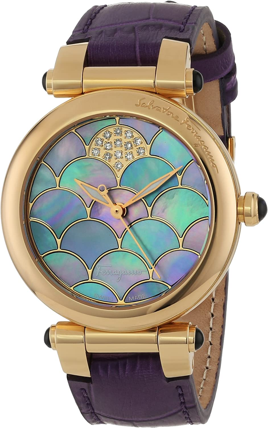 Salvatore Ferragamo Women's Idillio Diamond-Accented Rose Gold Ion-Plated Watch with Leather Band