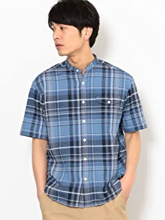 Short Sleeve Washed Madras Band Collar Shirt 3216-166-1266: Turquoise