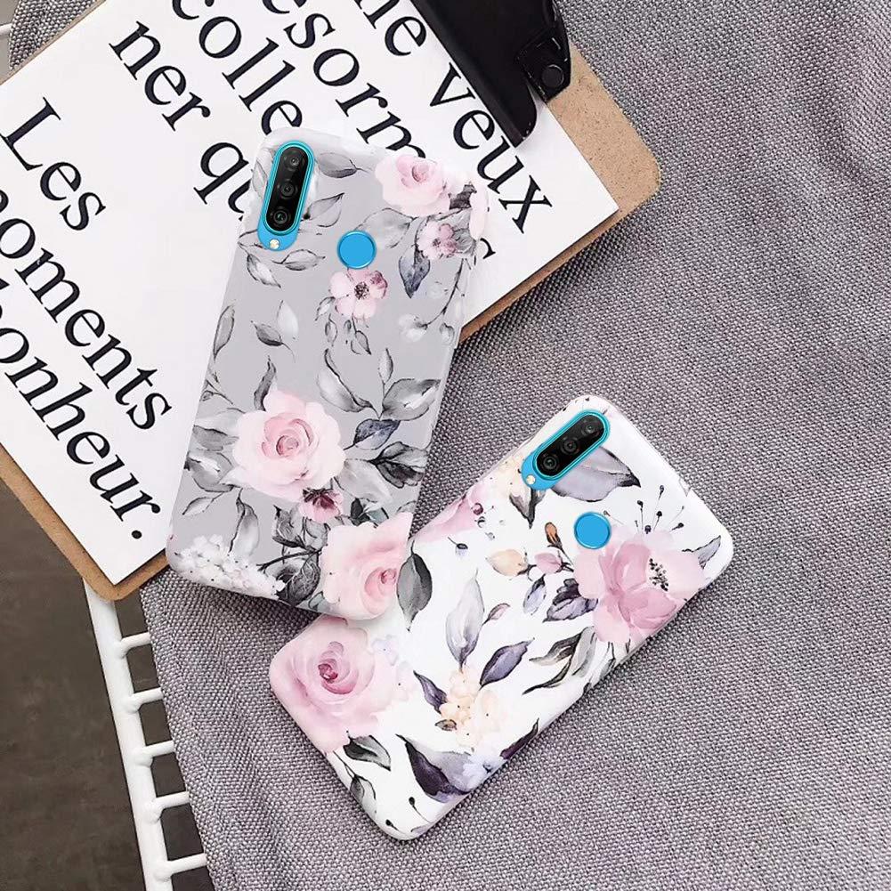 Kompatibel mit Huawei P30 Lite H/ülle,Handyh/ülle Huawei P30 Lite Case Blumen Bl/ätter Ultrad/ünn TPU Silikon H/ülle Schutzh/ülle Weiche Crystal Clear Silikon Bumper R/ückschale Case Cover,Rosa