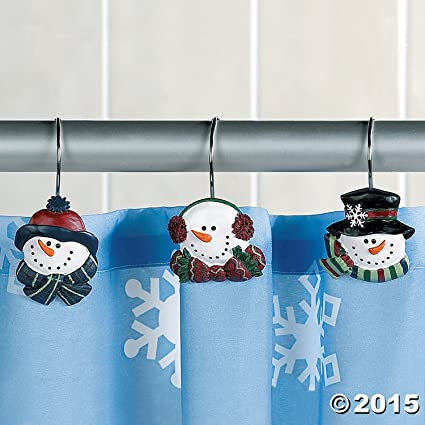 SNOWMAN Christmas Winter Holiday SHOWER CURTAIN HOOKS Set Of 12