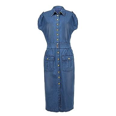 68a6dccad73 NONOSIZE Women s Plus-size Button Down Slim Fit Casual Long Denim Dress  with Short Sleeve