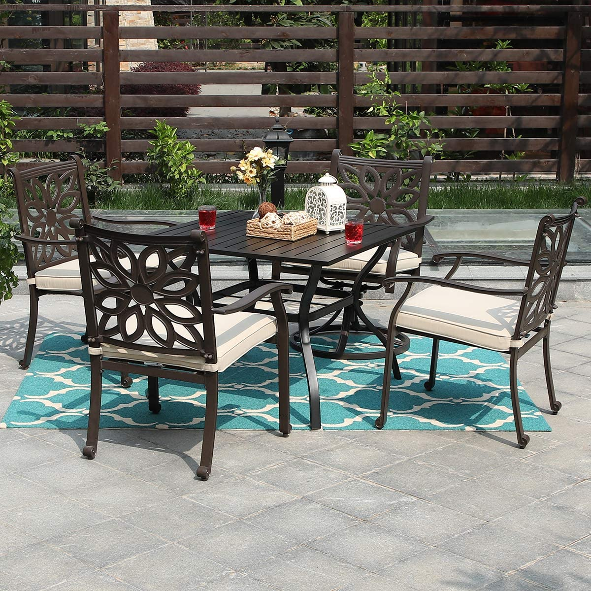 """PHI Villa Outdoor Patio Cast Aluminum Extra Wide Chairs with Cushion and 37"""" Metal Dining Table Set of 5 - Brown"""