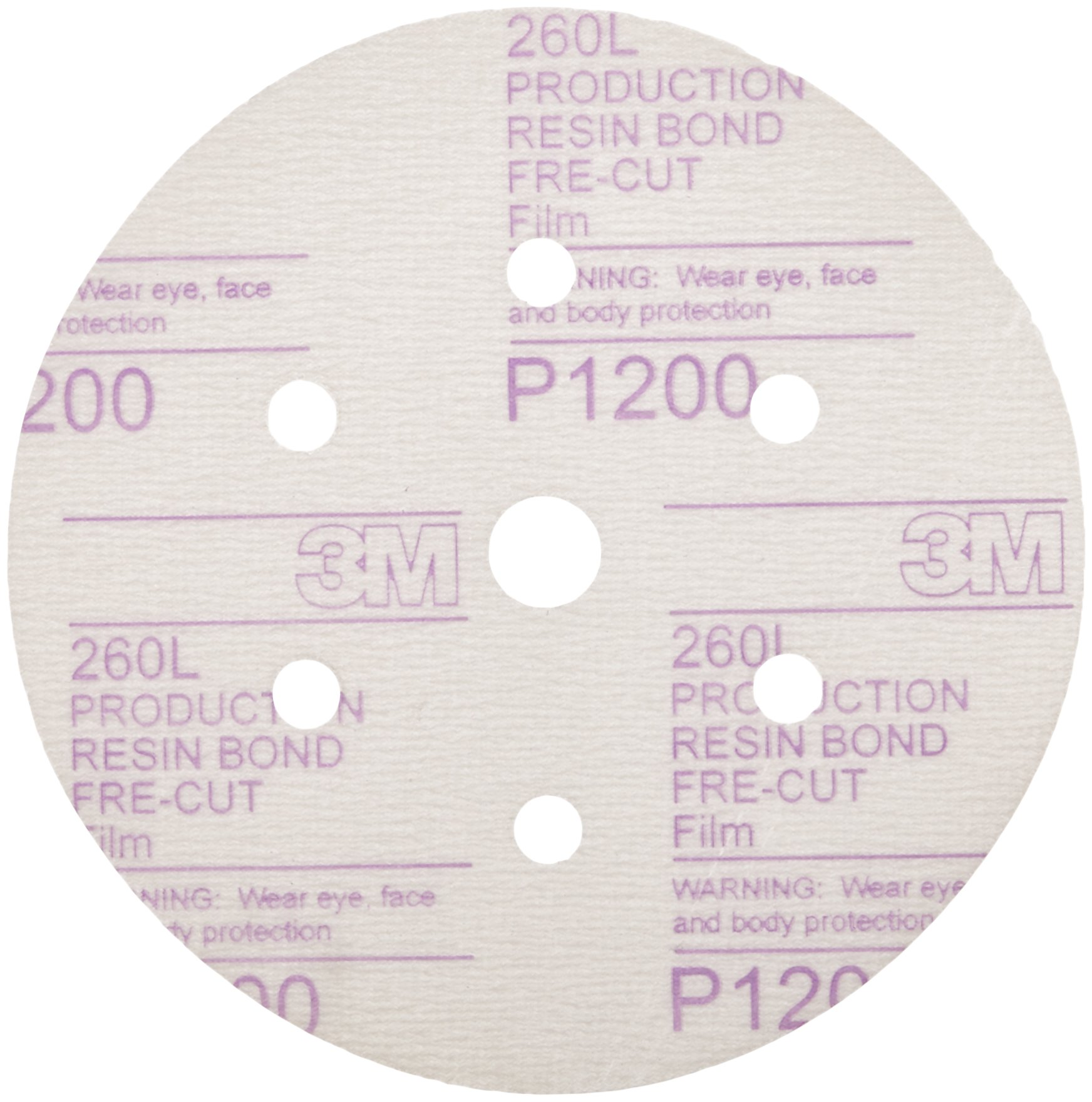 3M 01068 Hookit 6'' P1200 Grit Dust-Free Finishing Film Disc by 3M