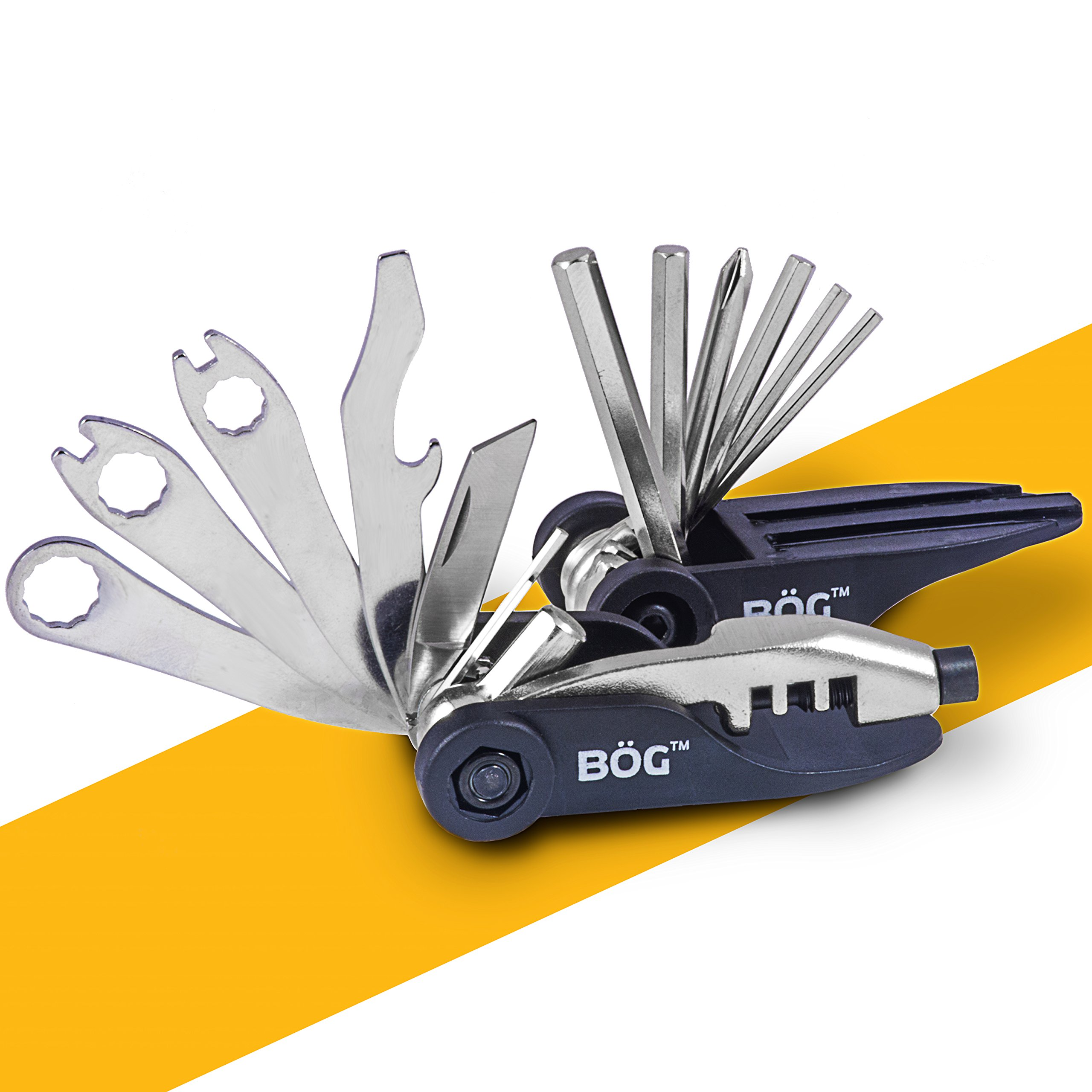 BoG Products Bike MultiTOOL 18 Function Compact folding Tool Set ~ Great Gift for Bicycle Riders