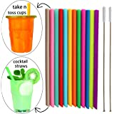 Tegion Short Replacement Reusable Toddlers& Kids Silicone Straws for The First Years Take & Toss Spill Proof Straw Cup and Wine Tumbler, Cocktail Straws 12 Pack Straws with 2 Brushes