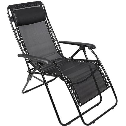 PORTAL Zero Gravity Chair Patio Lawn Reclining Lounge Chair, Black