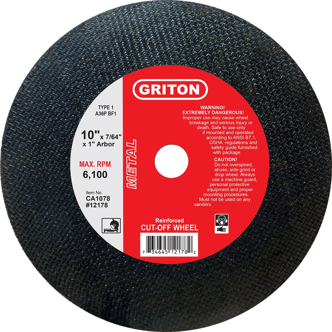 Griton CA1078 Arbor Industrial Cut Off Wheel for Metal Used on Low Horse Power Chop Saws, 1.0'' Hole Diameter, 10'' Diameter, 7/64'' Width (Pack of 10)