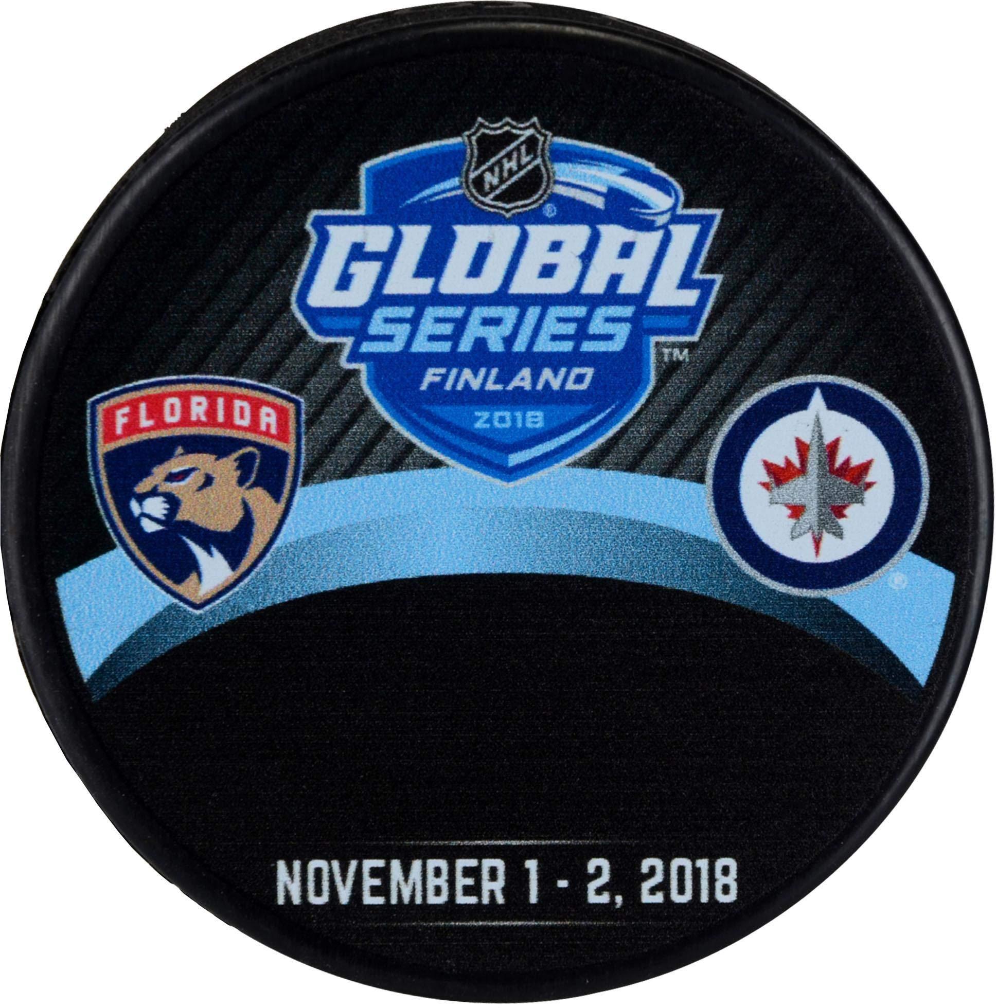 2018 Global Series Florida Panthers vs. Winnipeg Jets Unsigned Commemorative Autograph Model Hockey Puck Fanatics Authentic Certified