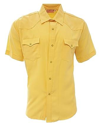 Zava Fashion Mens Cowboy Shirts Camisa Vaquera Western Shirt Short Sleeve Made in USA (Yellow