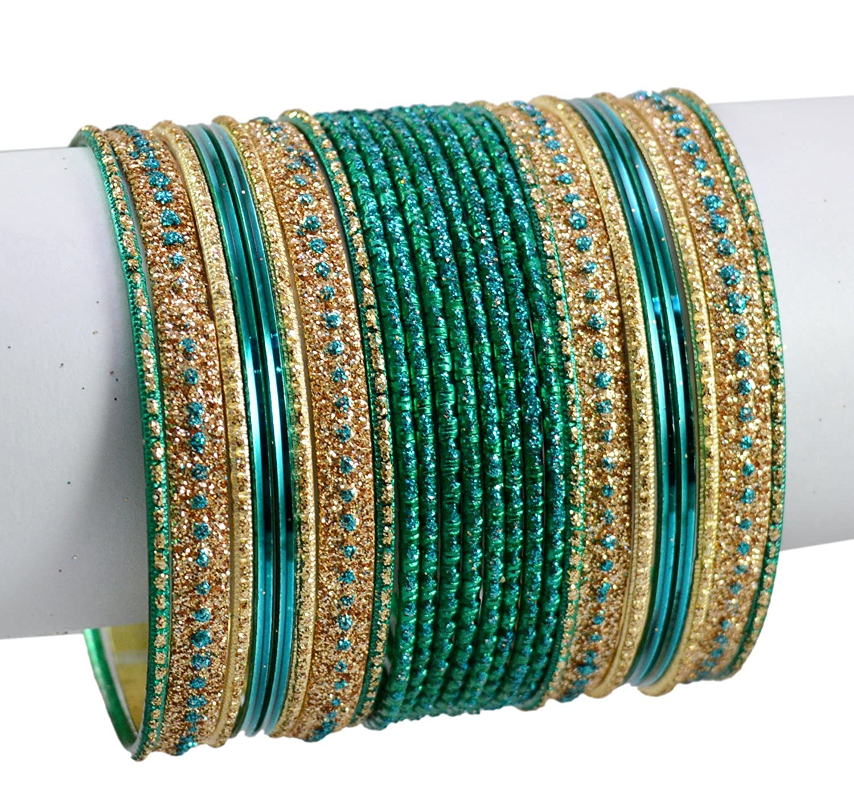 Chudi Turquoise Color 24pcs set of Bollywood Fashion Costume Kundan Style Bangles