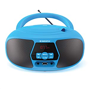 Oakcastle BX200 Retro Boombox CD Player Portable with Bluetooth, FM Radio, AUX Input, USB MP3 Playback and Stereo Speakers, for Kids and Home, Battery or Wall/AC Powered, Simple Music Player