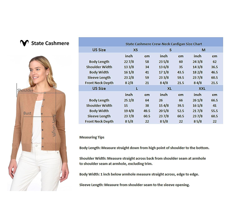 State Cashmere Donna 100/% Puro Cashmere Cardigan con Bottoni A Manica Lunga Girocollo