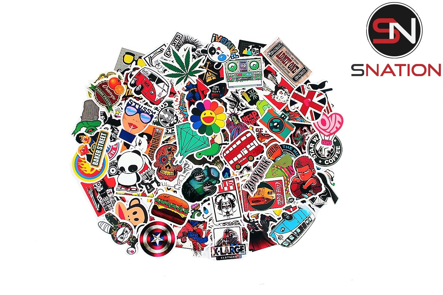 Stickers 100pcs sticker pack snation stickers laptop stickers skateboard stickers stickers laptop stickers bmx stickers stickerbomb2 amazon ca