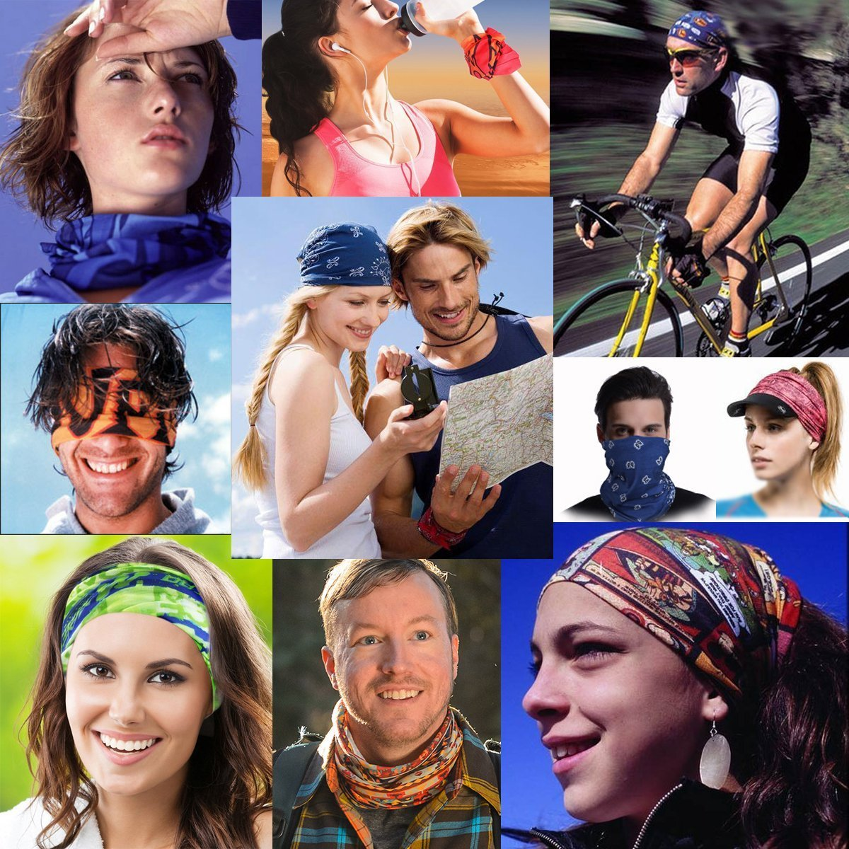 3D Fire Headband Mask Multi-use Sports Hair Band Seamless Head Wrap For Cycling