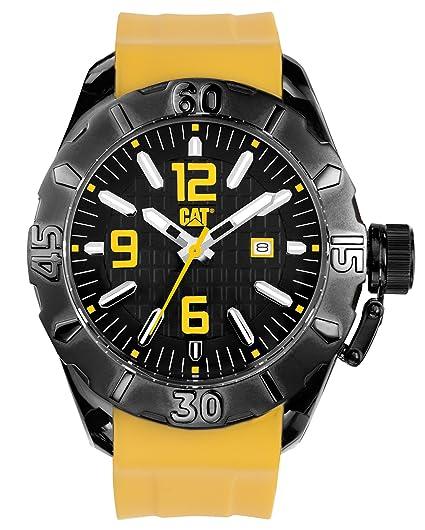 Cat P1.161.20.127 - Reloj analógico de Cuarzo para Hombre, Correa de Silicona Color Amarillo: Amazon.es: Relojes