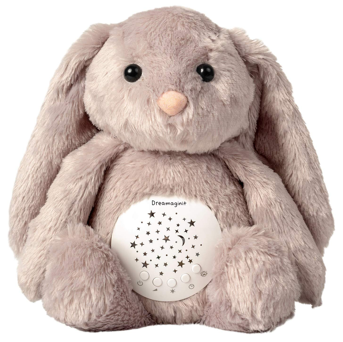 Dreamaginit Sound Machine and Night Light Projector/Baby Shusher, Lullabies and White Noise Soother/Portable Sleep Aid Toy/Nursery Décor Rabbit Stuffed Animal/Toddler and Baby Gifts