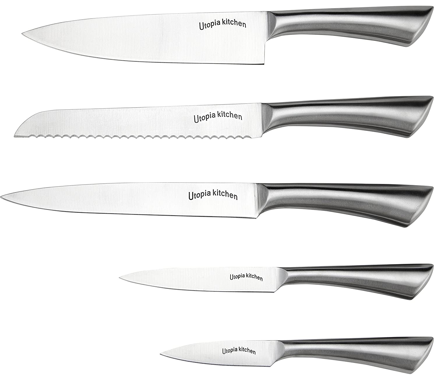 Amazon.com: Premium Class Stainless Steel Kitchen 6 Piece Knives Set (5  Knives Plus An Acrylic Stand)   By Utopia Kitchen: Kitchen U0026 Dining